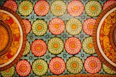 Patterns Of The Old Paintings, Flowers And Colorful Decor On Wooden Ceiling Of Buddha Ancient Temple. Royalty Free Stock Photography