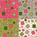 Patterns with patches. Four seamless pattern with patches Stock Photos