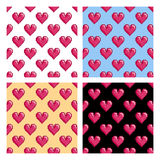 Patterns with pixel hearts. Sset of seamless vector patterns with pixel hearts. St. Valentine's Day or wedding background, 8-bit retro design. Already in royalty free illustration