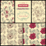Patterns with poinsettia and holly berry. Set of 4 seamless patterns with holly berry and poinsettia flower, paper pieces and decorative fir frame, Christmas stock illustration