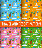 Patterns of resort. Seamless patterns of resort travel, sea and ocean resort, cruise and journey Stock Image