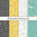 Patterns Sea Summer Hipster Hand Drawn Seamless Patterns Set Royalty Free Stock Photography