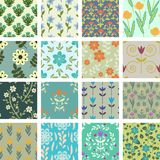Patterns. 16 seamless floral patterns set Royalty Free Stock Photography