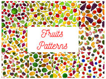 Patterns set of fresh ripe fruits and berries Royalty Free Stock Image