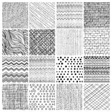 16 patterns. Set of 16 geometric seamless patterns and textures- zig zag, dots, textile, waves, brick Stock Image
