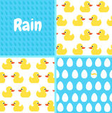 Patterns set. Seamless vector pattern with cute bright yellow du Royalty Free Stock Photos