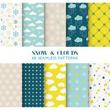 10 Patterns - Snow and Clouds. 10 Seamless Patterns - Snow and Clouds - Texture for wallpaper, background, texture, scrapbook - in vector royalty free illustration