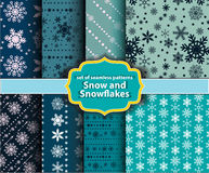 Patterns  snow and snowflakes Royalty Free Stock Image