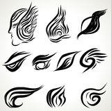 Patterns of tattoo art. Black and white line art Royalty Free Stock Photo