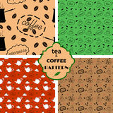 Patterns with tea and coffee. Four seamless patterns with tea and coffee Stock Photo