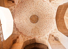 Patterns under the dome of the ancient Iranian palace. Stock Images