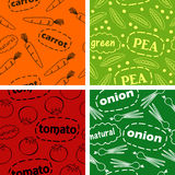 Patterns with vegetables. Four seamless pattern with vegetables and inscriptions Royalty Free Stock Photo