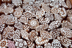Patterns on wooden mold blocks for traditional printing textile, local market design of India. Royalty Free Stock Photo