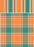 Patternset. Striped and plaid pattern in winter 2008/2009 fashion trend colors stock illustration