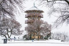 The Patterson Park Pagoda in the snow, in Baltimore, Maryland royalty free stock photos