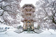 The Patterson Park Pagoda in the snow, in Baltimore, Maryland stock photo