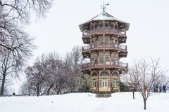 The Patterson Park Pagoda in the snow, in Baltimore, Maryland royalty free stock photo