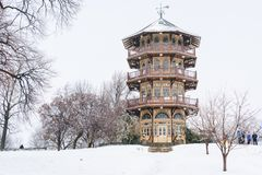 The Patterson Park Pagoda in the snow, in Baltimore, Maryland royalty free stock image