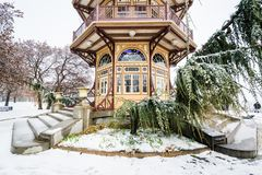 The Patterson Park Pagoda in the snow, in Baltimore, Maryland royalty free stock images