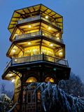 Patterson Park Pagoda on a snowy night in Baltimore. The Patterson Park Pagoda in Baltimore, Maryland MD on a snowy night in February. Perfect winter scene of royalty free stock photography