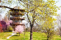 Patterson Park Pagoda tower in Spring, Baltimore. Patterson Park Pagoda-style observation tower in Spring, Baltimore, Maryland, USA royalty free stock images