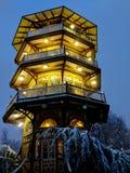 Patterson Parkuje pagodę na śnieżnej nocy w Baltimore fotografia royalty free