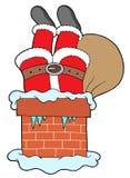 Pattes de clauses de Santa avec la cheminée Photographie stock libre de droits