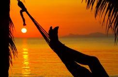 Pattes de coucher du soleil Image stock