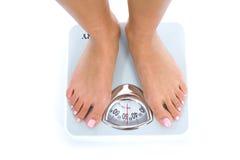 Pattes de femme avec des échelles Photo stock