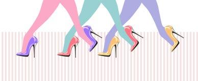 Pattes de femme avec des chaussures de haut talon illustration stock