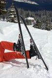 Pattes et skis Photographie stock libre de droits