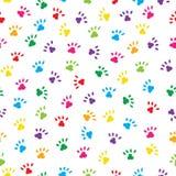 Pattes mignonnes de chats dans des couleurs d'arc-en-ciel Fond sans couture de modèle illustration de vecteur