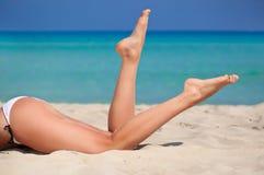 Pattes sur la plage Photographie stock libre de droits
