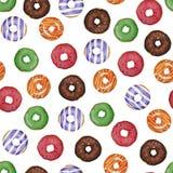 Pattetrn Watercolor που χρωματίζεται donuts διανυσματική απεικόνιση