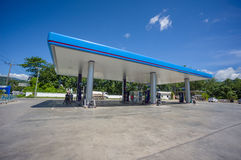 Patthalung, 02 july 2014: PTT gas station in Srinagarinda distri Royalty Free Stock Images