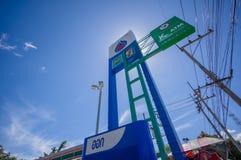 Patthalung, 02 2014 Lipiec: PTT benzynowa stacja w Srinagarinda distri Zdjęcie Royalty Free