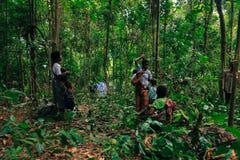PATTHALUNG, THAILAND - 13. DEZEMBER 2015: Das Negrito von Thailand Sie sind ein saa-gai Stamm, die friedlich im dichten und im im Lizenzfreies Stockbild