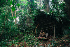 PATTHALUNG, THAILAND - 13. DEZEMBER 2015: Das Negrito von Thailand Sie sind ein saa-gai Stamm, die friedlich im dichten und im im Lizenzfreie Stockfotos
