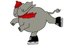 Pattinaggio su ghiaccio dell'elefante Fotografia Stock Libera da Diritti
