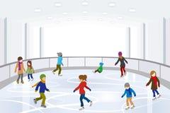 Pattinaggio su ghiaccio della gente in pista di pattinaggio sul ghiaccio dell'interno royalty illustrazione gratis