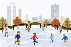 Pattinaggio su ghiaccio della gente sulla pista di pattinaggio sul ghiaccio urbana illustrazione vettoriale