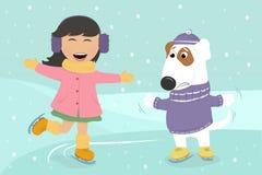 Pattinaggio su ghiaccio della ragazza con il cane Fotografia Stock