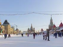 Pattinaggio su ghiaccio sul quadrato rosso a Mosca Fotografie Stock Libere da Diritti