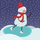 Pattinaggio su ghiaccio sveglio del pupazzo di neve Fondo di vettore Fotografia Stock