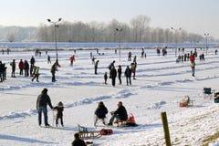 Pattinare di ghiaccio nei Paesi Bassi Immagini Stock