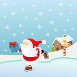 Pattinare di ghiaccio Santa illustrazione vettoriale