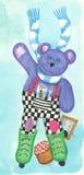 Pattinare viola dell'orsacchiotto illustrazione vettoriale