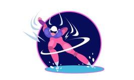 Pattinatore di velocità Personaggio dei cartoni animati dell'uomo che pattina sulla pista di pattinaggio sul ghiaccio royalty illustrazione gratis