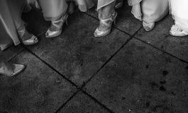 Pattini bianchi di cerimonia nuziale Fotografia Stock