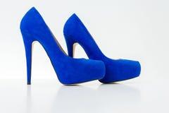 Pattini blu dell'alto tallone Fotografia Stock Libera da Diritti